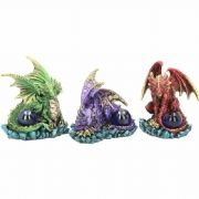 Dragon Guardian Figurines Set of 3  Purple Red Green Fantasy Art Ornaments Gifts